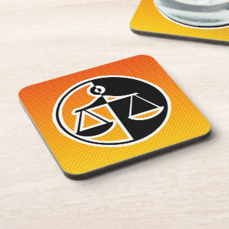 Yellow Orange Justice Scales Beverage Coasters