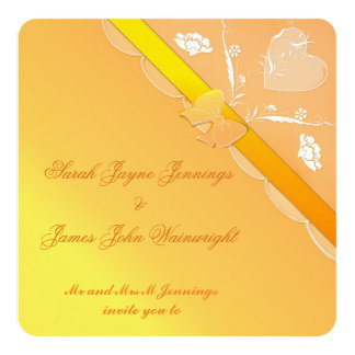 Yellow & Orange Lace Wedding Invitation Card