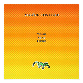 Yellow Orange Lizard Personalized Invite
