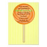 Yellow & Orange Lollipop Girls Birthday Invitation