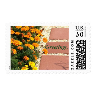 Yellow Orange Marigold Flowers Greetings Stamps