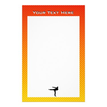 Yellow Orange Martial Arts Personalized Stationery