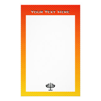 Yellow Orange Menorah Stationery