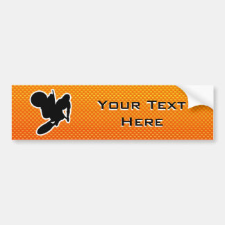 Yellow Orange Motocross Whip Bumper Sticker