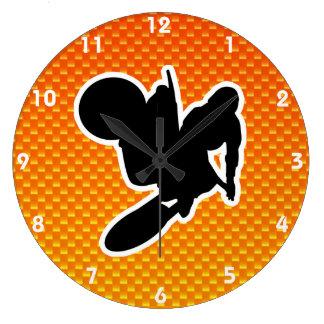 Yellow Orange Motocross Whip Wall Clocks