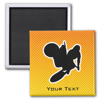 Yellow Orange Motocross Whip 2 Inch Square Magnet
