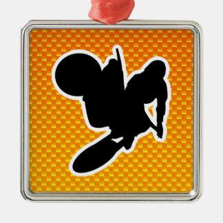 Yellow Orange Motocross Whip Metal Ornament
