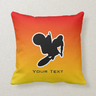 Yellow Orange Motocross Whip Throw Pillow