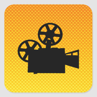 Yellow Orange Movie Camera Square Sticker