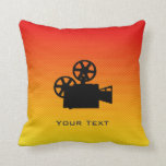 Yellow Orange Movie Camera Throw Pillow