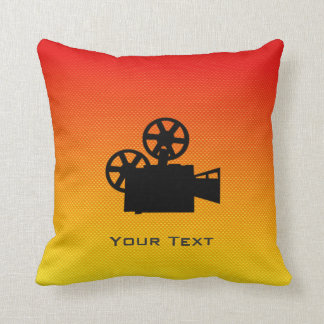 Yellow Orange Movie Camera Throw Pillow