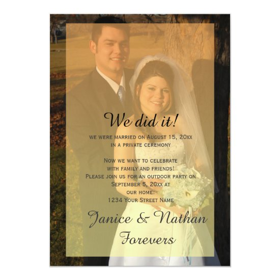 Yellow Orange Ombre Overlay Photo Reception Only Invitation