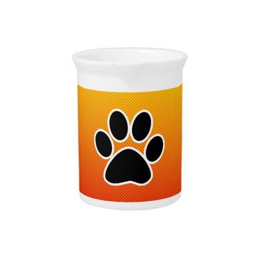 Yellow Orange Paw Print Drink Pitchers