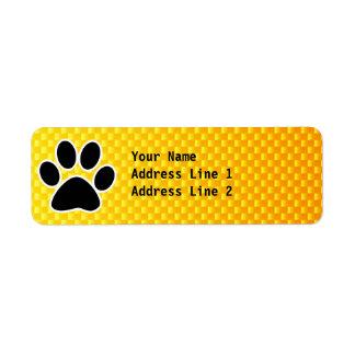 Yellow Orange Paw Print Label