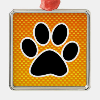 Yellow Orange Paw Print Metal Ornament