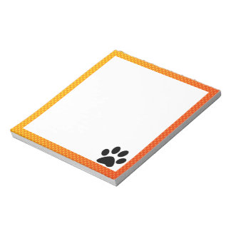 Yellow Orange Paw Print Notepad