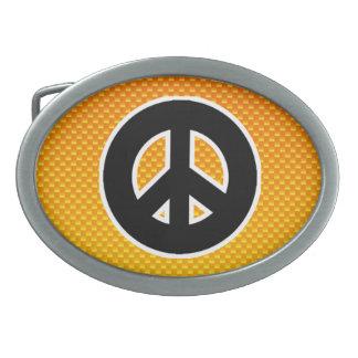 Yellow Orange Peace Sign Oval Belt Buckles