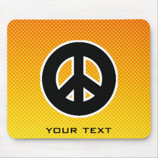 Yellow Orange Peace Sign Mouse Pad