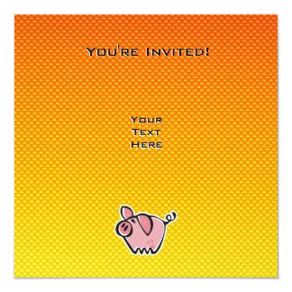 Yellow Orange Pig 5.25x5.25 Square Paper Invitation Card