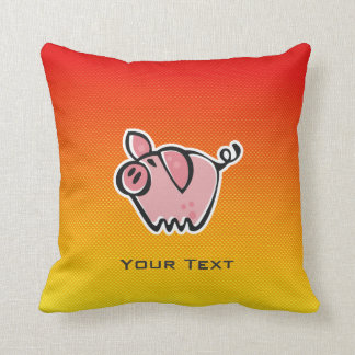 Yellow Orange Pig Throw Pillow