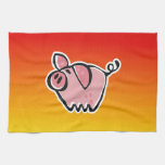Yellow Orange Pig Towel
