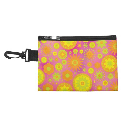Yellow Orange & Pink Hippy Flower Pattern Accessory Bag