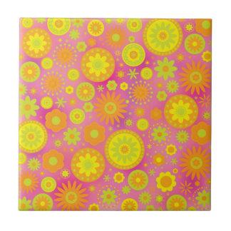 Yellow Orange & Pink Hippy Flower Pattern Ceramic Tile