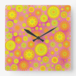 Yellow Orange & Pink Hippy Flower Pattern Wall Clocks