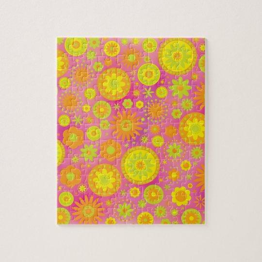 Yellow Orange & Pink Hippy Flower Pattern Jigsaw Puzzle