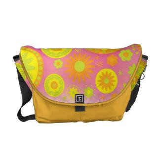 Yellow Orange & Pink Hippy Flower Pattern Messenger Bags