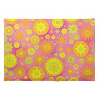 Yellow Orange & Pink Hippy Flower Pattern Placemat