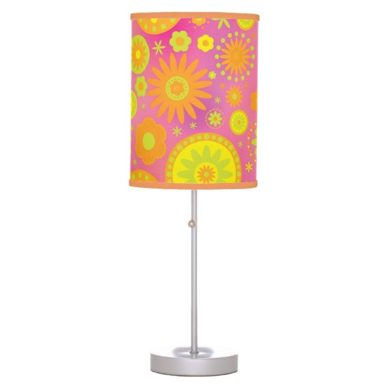 Yellow Orange & Pink Hippy Flower Pattern Table Lamp