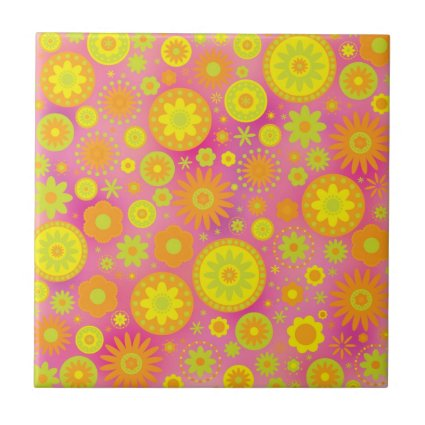 Yellow Orange & Pink Hippy Flower Pattern Small Square Tile
