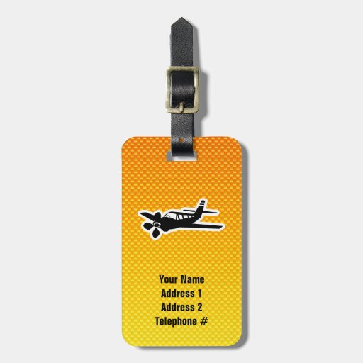 Yellow Orange Plane Bag Tags