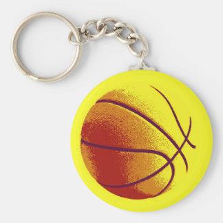 Yellow Orange Pop Art Basketball Basic Round Button Keychain