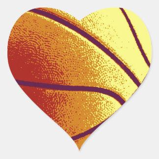Yellow Orange Pop Art Basketball Heart Sticker