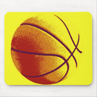 Yellow Orange Pop Art Basketball Mouse Pad
