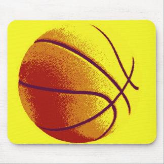 Yellow Orange Pop Art Basketball Mouse Pad