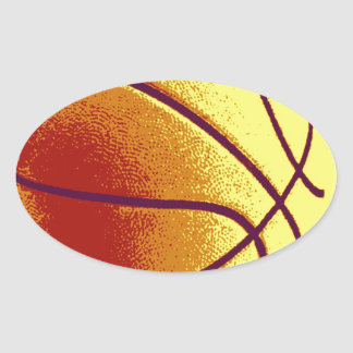 Yellow Orange Pop Art Basketball Oval Sticker
