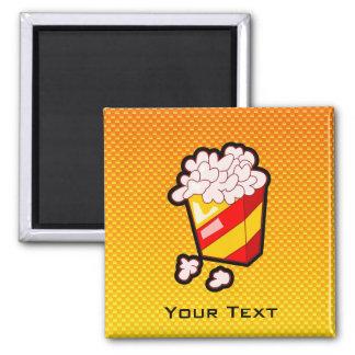 Yellow Orange Popcorn 2 Inch Square Magnet