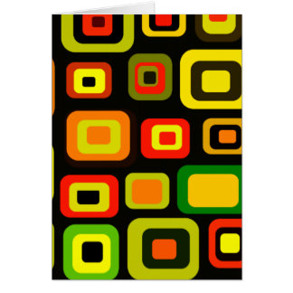 Yellow, orange, red and green rectangles card