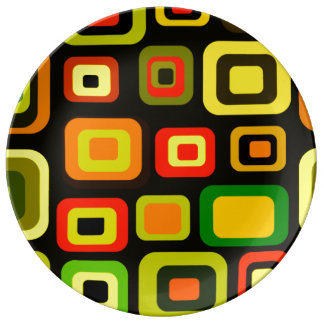 Yellow, orange, red and green rectangles porcelain plate