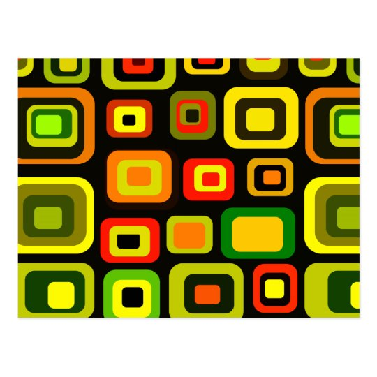 Yellow, orange, red and green rectangles postcard
