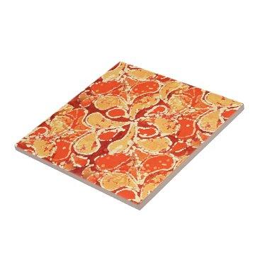 LolasClassyCeramics Yellow Orange Red Bali Batik Style Paisley Pattern Ceramic Tile