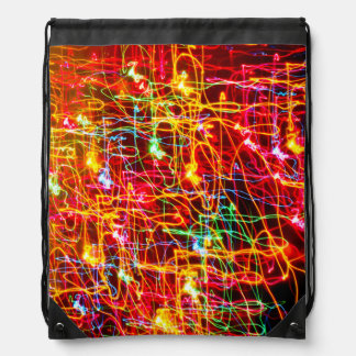 Yellow Orange Red Green Blue Pink Abstract Lights Drawstring Backpack