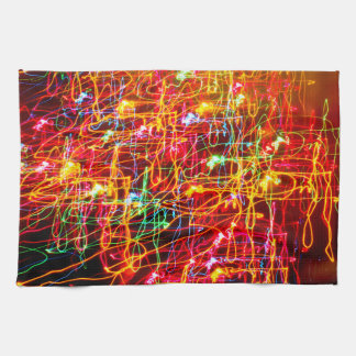 Yellow Orange Red Green Blue Pink Abstract Lights Hand Towel