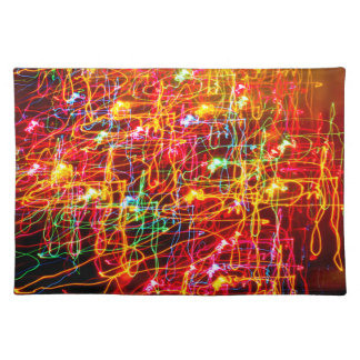 Yellow Orange Red Green Blue Pink Abstract Lights Placemat