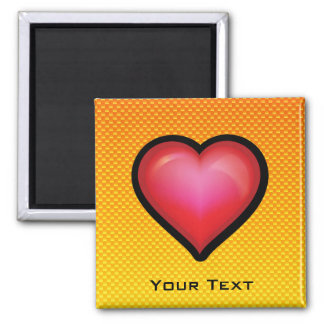 Yellow Orange Red Heart 2 Inch Square Magnet
