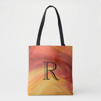 Yellow Orange Red Paint Strokes with Monogram Tote Bag