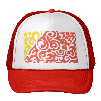 Yellow Orange Red Swirl Trucker Hat